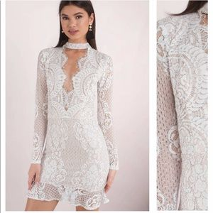 Tobi White lace choker dress